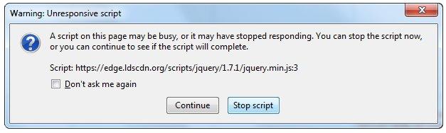 unresponsive script in firefox warning dialog
