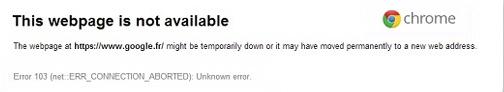 google chrome error 103
