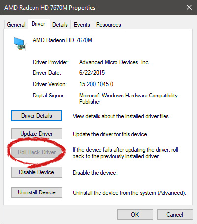 AMD driver rollback marked