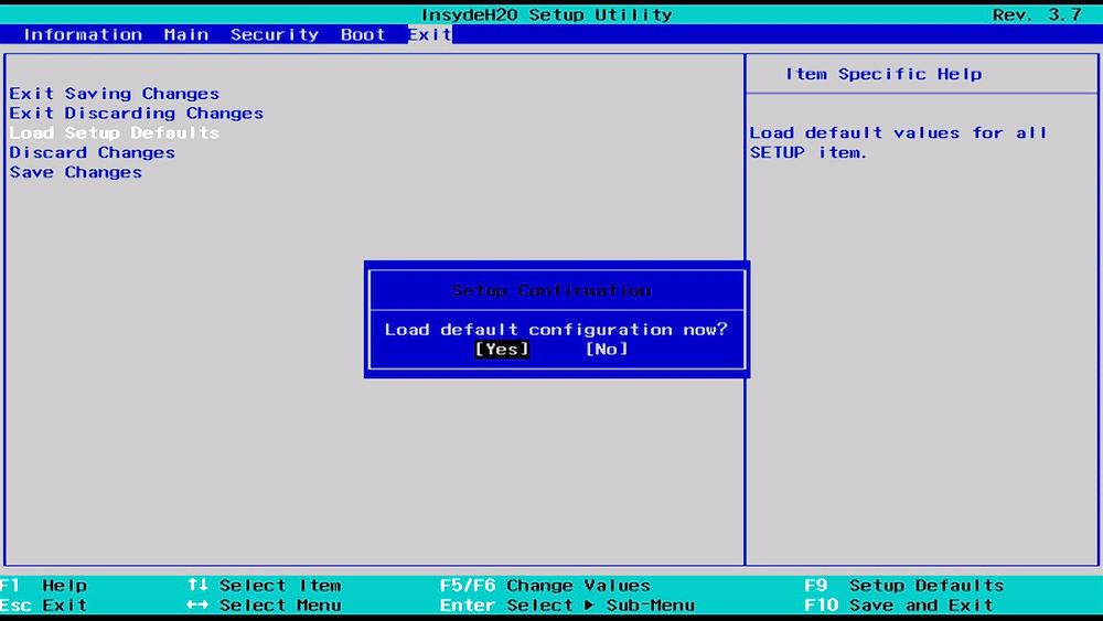 BIOSD load defaults