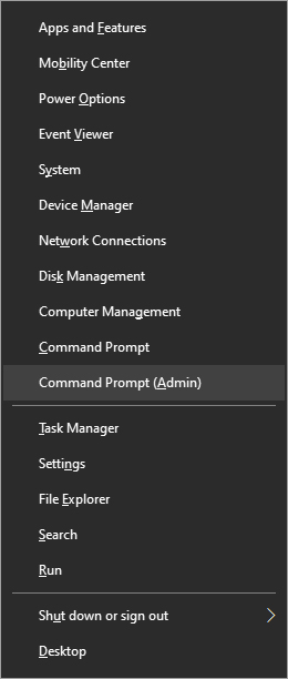 Windows menu command prompt admin