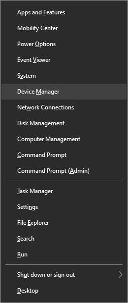 Windows menu device manager