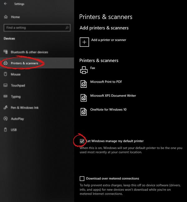 Windows settings for printer