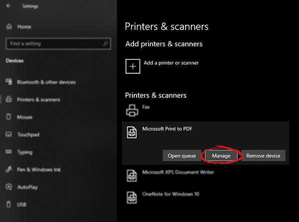 Windows settings manage printer