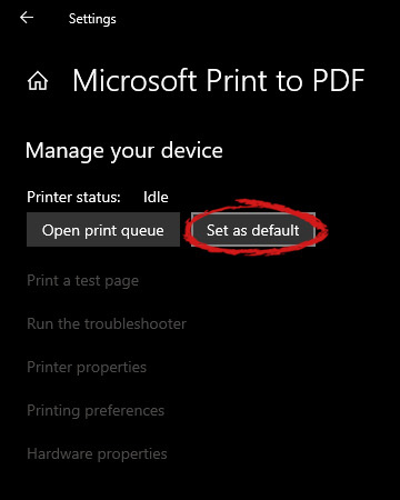 Windows settings printer setting