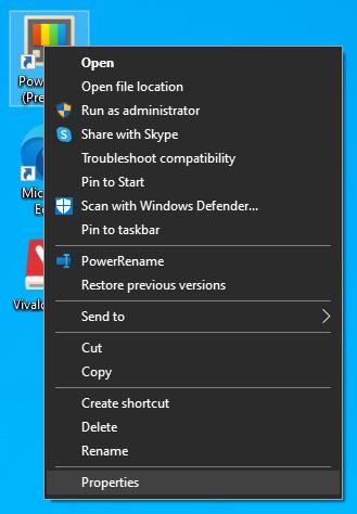 file properties drop down menu