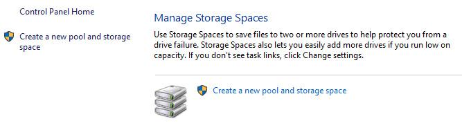 storage spaces manage storage spaces
