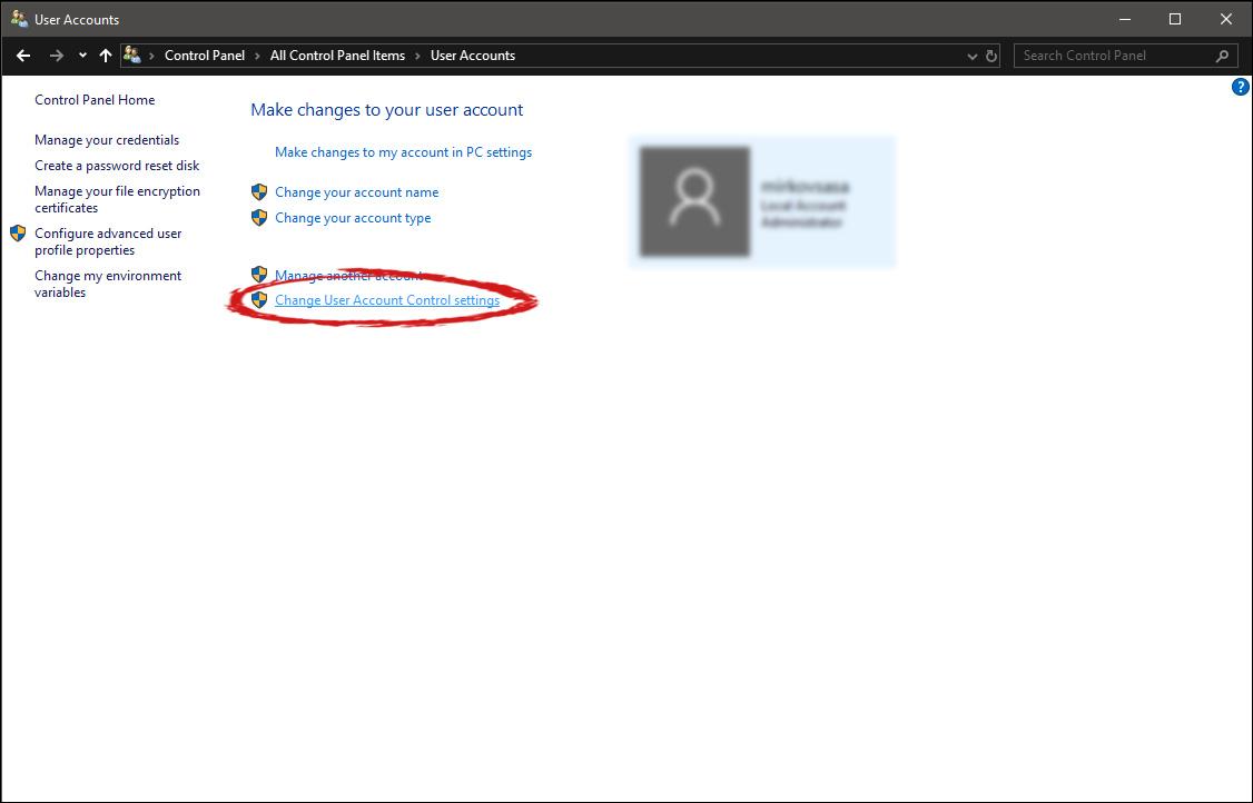 user account change user account