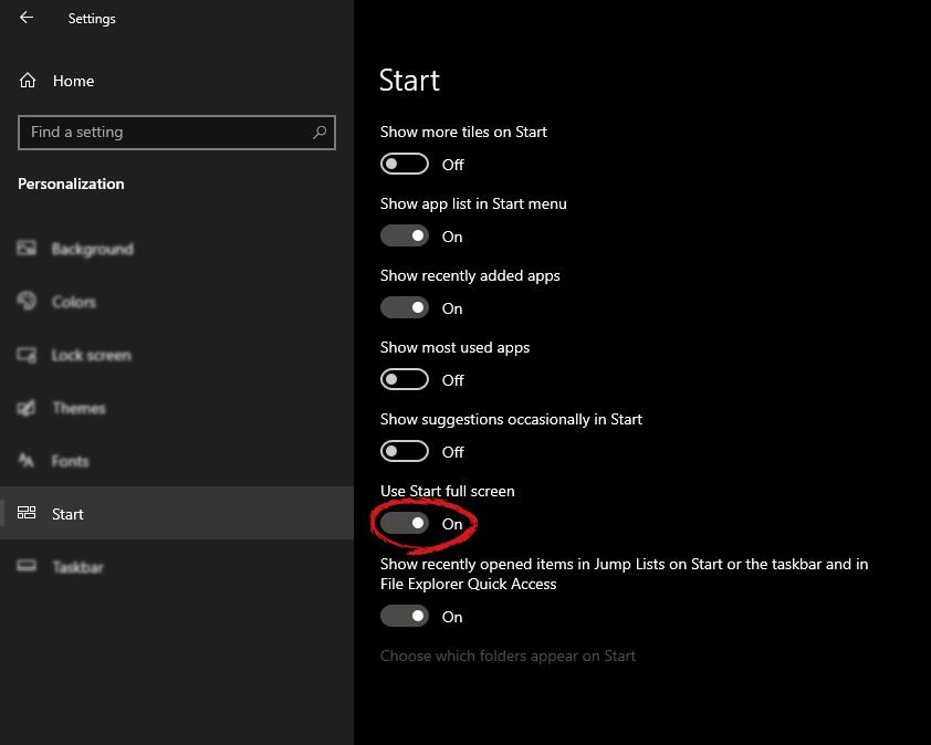 windows settings start screen switch for full screen