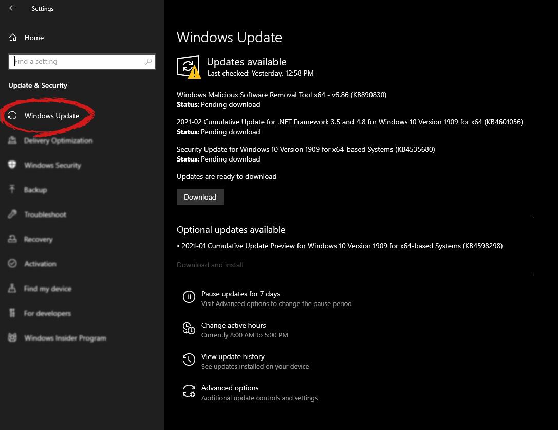 windows settings windows update selected