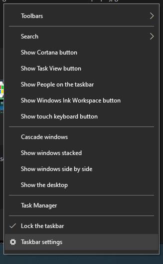 taskbar settings menu