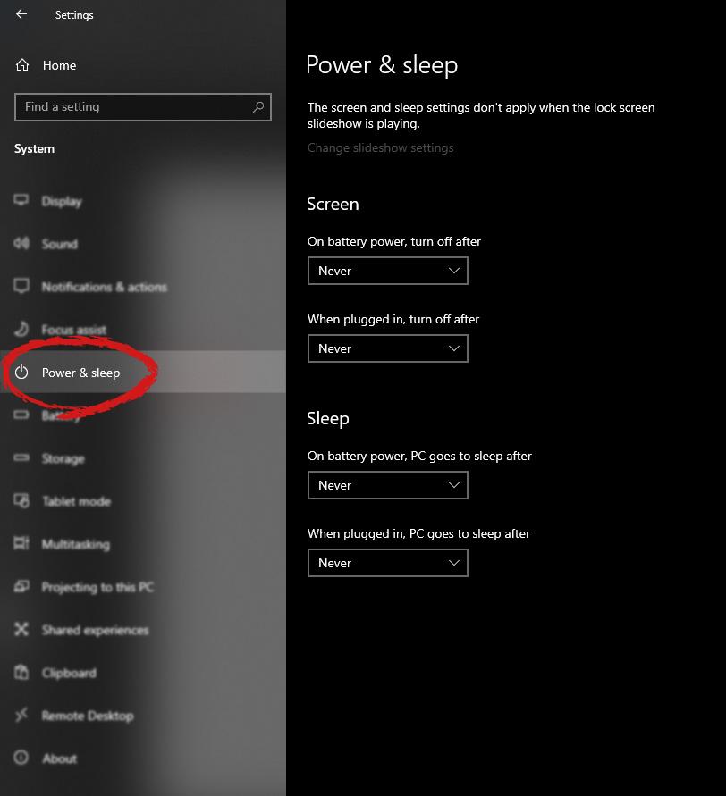 windows settings power and sleep