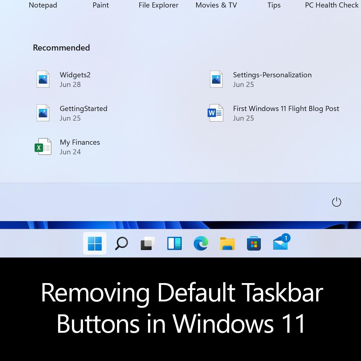 Removing Default Taskbar Buttons in Windows 11
